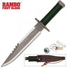 The Rambo First Blood Part I knife features push tang construction and a hollow aluminum cord gripped handle that contains a precision compass mounted in the pommel and an emergency survival kit. The stainless steel guards incorporate a standard and Phillips head screwdriver points in the design. This is the officially licensed Rambo movie knife.…