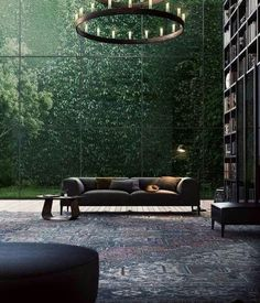 Kind of pretty… Glass wall, with little garden area that is set off from everything else.