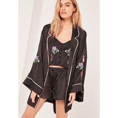 Missguided Luxury Satin Floral Embroidery Silk Robe (835 ARS) ❤ liked on Polyvore featuring intimates, robes, black, kimono bathrobe, kimono robe, silk bath robes, embroidered robes and silk dressing gown
