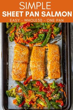 Use this Simple Sheet Pan Salmon recipe to make a Whole30 salmon and veggie meal in less than 30 minutes. Use a tangy marinade to cook both the salmon and veggies on the same pan. Healthy Dishes, Healthy Dinner Recipes, Great Recipes, Strawberry Chia Seed Pudding, Veggie Recipes, Vegetarian Recipes, Scallop Recipes, Sunday Meal Prep, Meal Prep Containers