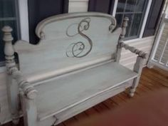 Bench made from old bed (headboard and footboard) front porch by me-n-mybigideas