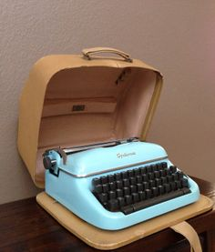 Antique Vintage Optima Super Baby Turquoise Blue Portable Typewriter with Case.  Germany.