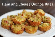 """Ham and Cheese Quinoa Bites - (29 calories, 2g protein PER """"bite"""") 2 c cooked quinoa, 3 eggs, 1 c shredded zucchini, 6 oz cubed ham, 1 T parsley, 1 c shredded cheddar, 3 T fresh parmesan Cheese, 1/4 c finely diced onion, 1/4 t black pepper"""