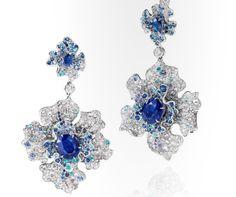 Annu Hu`s Diamond and Sapphire Earrings