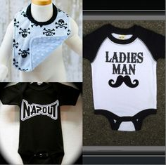 ::must have onesies for my baby boy Dominic//Love the UFC..mustaches&& skulls..so these are appropriate::
