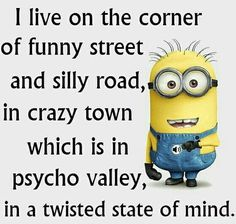 I live on the corner of funny street and silly road, in crazy town which is in psycho valley, in a twisted state of mind. Minion Jokes, My Minion, Minions Quotes, Minion Sayings, Minions 4, Minion Stuff, Funny Quotes, Funny Memes, Hilarious