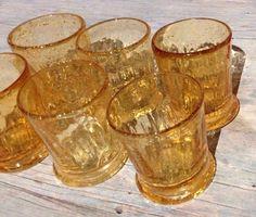 UNIQUE ALTAR VINTAGE HAND BLOWN GOLDEN AMBER GLASS VOTIVE CANDLE HOLDERS SET (6)
