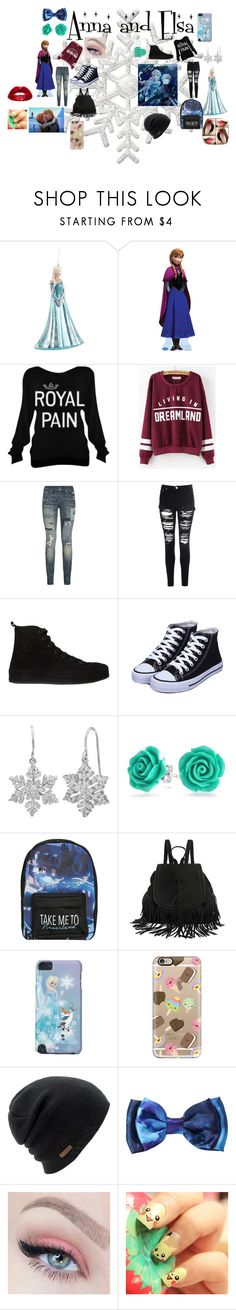 """""""Anna and Elsa"""" by agitae on Polyvore featuring Disney, Polo Ralph Lauren, Glamorous, Ann Demeulemeester, Bling Jewelry, Casetify, Coal, Hot Topic and Essie"""
