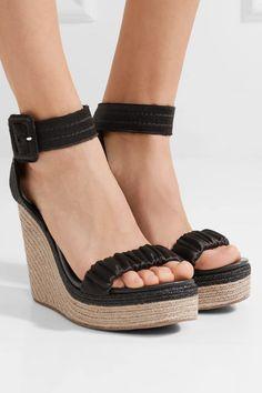 e406583e9165 Pedro Garcia - Teodora Satin Espadrille Wedge Sandals - Black Black Wedge  Sandals