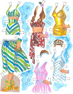 Costumes for swimming star paper doll. By David Wolfe, Paperdollywood. Available for purchase at paperdollreview.com