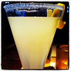 The Lemon Drop- Skyy citrus vodka with chilled lemonade shaken with a sugared rim!