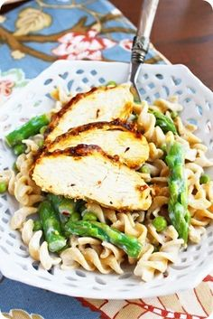 Chicken, asparagus and whole wheat pasta in a light lemon cream sauce.