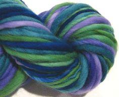 Handspun Yarn Mountain Time 60 yds blue by SpinningWheelStudio, $20.00