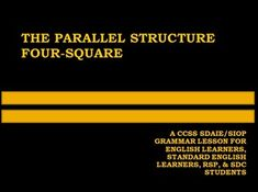 The Best SDAIE/SIOP Common Core Lesson on Parallel Structure Around for English Learners, Standard English Learners, and Special Education Students! Discounted for a Limited Time Only! $