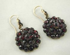 Antique Victorian 9CT Gold Garnet Cluster Drop Earrings Circa 1880