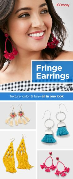 Fringe earrings are flirty, fun and totally on trend. Add a pop of color to your outfit—a punchy pink, a bold blue. It's easy and affordable to accessorize with a pair of tassel earrings. Romance your spring look with subtle fringe earrings or go for a bold statement with  eye-catching tasseled pieces. Accessorizing with fashion jewelry gives you so many spring outfit options.
