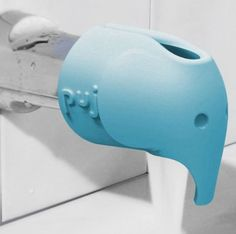 Great elephant bath spout cover to protect little ones from bonked heads in the tub. #baby #bathtime