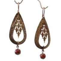 Mosaic Splash Earring Kit, made with Vintaj nickel-free brass components and glazed clay beads.  Available at http://beadinspirations.com.