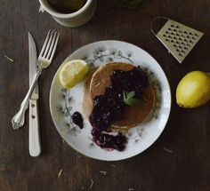 Cornmeal Pancakes with #Parrano and Lemon is the perfect ending to a perfect week especially with some blueberry topping.