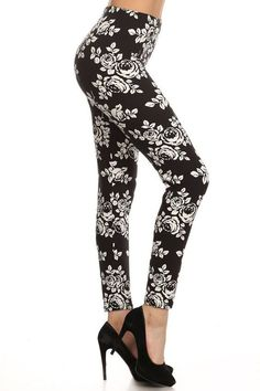 "White Rose Floral Black Leggings! - Elastic waistband. - Super stretchy leggings. - Polyester & spandex. - Super soft like velvet. - One size fits most. - Measurements : Waist : 24"" - 30"" inches, Hips"