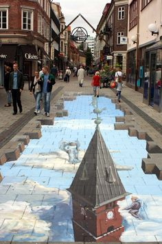 Helsingborg, Sweden. 3D street art there's a cool children's book like this called imagine a day. Super cool