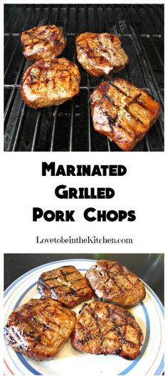 Marinated Pork Chops- A simple and flavorful marinade for the most tender and delicious Marinated Grilled Pork Chops you'll ever have! All of us loved them! dinner grill Marinated Grilled Pork Chops - Love to be in the Kitchen Pork Rib Recipes, Grilling Recipes, Meat Recipes, Cooking Recipes, Grilling Ideas, Recipies, Pork Chop Brine Recipes, Recipes For The Grill, Grilling