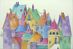 Charming watercolor, soft yet bold! Town Houses bright colourful houses all full of by shelikesthis