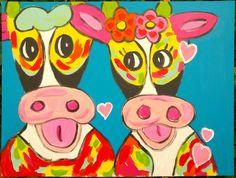 Verliefde koeien schilderij.