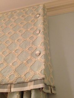 Great detail on this valance .. 3 buttons on corners, box pleated ruffled patterned matched, and tiny biased welt -- lovely -  A Beautiful Room: Luxurious Fabrics