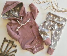 Baby bodysuit hoodie set baby sweatshirt gender neutral