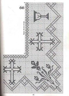 "Photo from album ""кайма крючком"" on Yandex. Crochet Lace Edging, Crochet Cross, Knit Crochet, Beaded Cross Stitch, Cross Stitch Embroidery, Embroidery Patterns, Filet Crochet Charts, Crochet Diagram, Cross Stitch Designs"