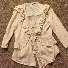 Ruffled cardigan from anthropology (L) Great condition worn a couple of times has snap closure, tie closure  or can be left open. Bought from anthropology Mint Sweaters Cardigans