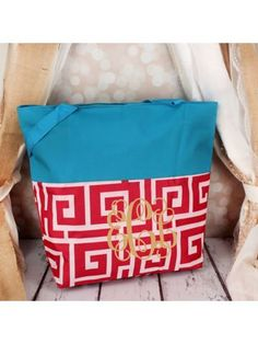www.ewam.com Market Shopping Tote in Pink and White Greek Key and Blue