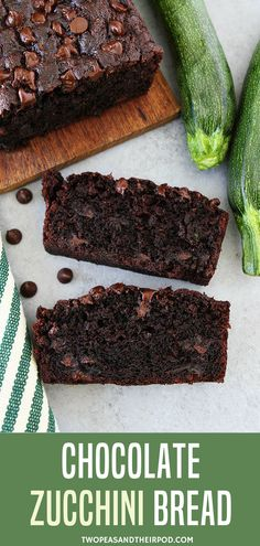 This easy Chocolate Zucchini Bread recipe is moist, chocolaty, and will remind you of your favorite chocolate cake. You will never know it is made with a vegetable! #chocolate #zucchini #bread Visit twopeasandtheirpod.com for more simple, fresh, and family friendly meals. #familyfriendlymeals