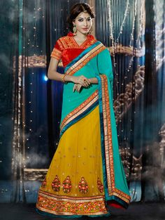 Light Blue And Yellow Net Lehenga Saree With Embroidery Work