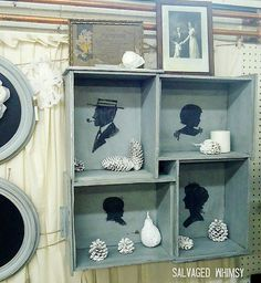 repurposed drawers made into a shadowbox - I plan do this with halloween inspired silhouettes