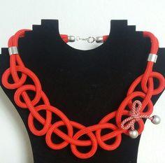 Statement Ketten - rote Statementkette mit Schleife - ein Designerstück von Patikreli bei DaWanda