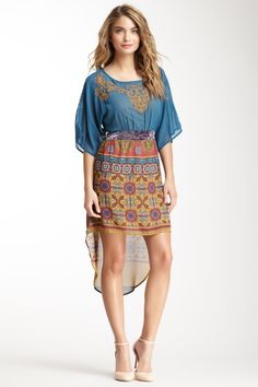 Embroidered Print Combo Dress by Flying Tomato & Jealous Tomato
