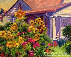 """""""Summer Garden""""  Oil on Board, 8×10″    http://www.jenniferyoung.com/blog/2008/07/18/summer-garden-painting-bellevue-style/"""