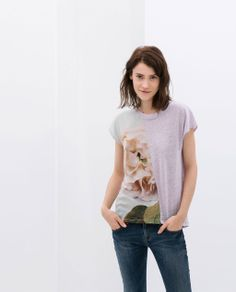 #PRINTED #LINEN #T-SHIRT from #Zara in #Lilac