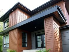 Faux Cedar Siding Exterior - Are you interested in farmhouse architectures? Then you should look at our collection of adorable farm houses made with cedar shake coating. Log Cabin Exterior, Exterior House Siding, Exterior House Colors, Steel Siding, Cedar Siding, Wood Siding, Modern Exterior, Exterior Design, Style At Home