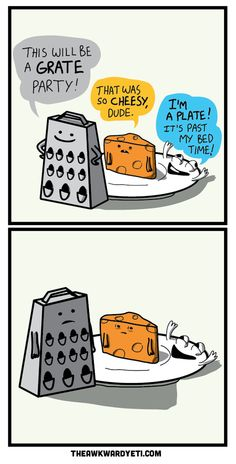 Grater, Cheese, and Plate Pun | The Awkward Yeti
