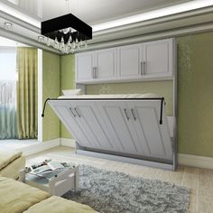 Horizontal Metropolitan Murphy Bed with a top hutch is a high quality product and a modern design combined together.
