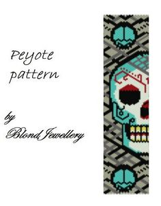Peyote Pattern Pdf Kandi Patterns, Peyote Stitch Patterns, Bead Loom Patterns, Cross Stitch Charts, Beading Patterns, Beaded Skull, Jewelry Making Tutorials, Beading Projects, Brick Stitch