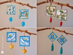 PorcelainCollectionSicily | Azul tile | Botany | Birds Tile | Tile_02 | handpainted paper earrings with semiprecious stones | Paper Leaf