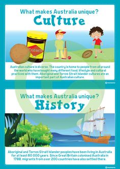 Teaching Resource: A set of 6 educational posters highlighting some of the things that make Australia unique Teaching Posters, Teaching Resources, Australian Continent, Unique Poster, Primary Classroom, Continents, Around The Worlds, Culture, Activities