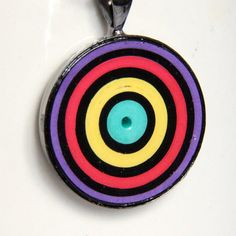 Neon Circle Pendant Handmade by Paper Quilling by HoneysHive
