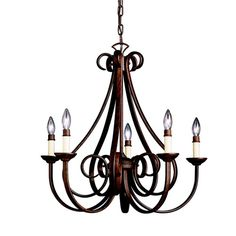 Features:  -5 light incandescent chandelier.  -Bulb type : candelabra base B10 socket bulb.  -Length not adjustable.  Chandelier Type: -Candle-Style chandelier.  Finish: -Tannery bronze.  Material: -M