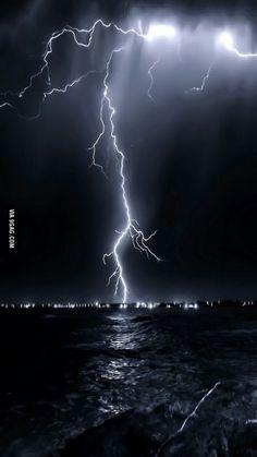 Lightning hitting the sea
