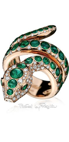 Regilla ⚜ Tabbah, slider divine serpent hypnotic ring with diamonds and emeralds